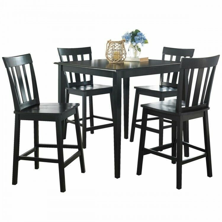 Details About 5 Piece Counter Height Dining Set Indoor Black Wood