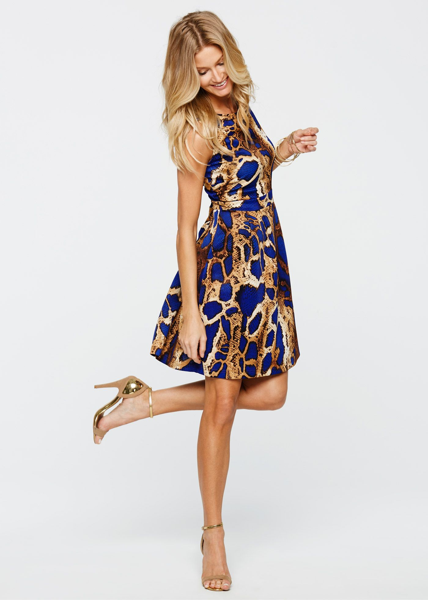 Kleid in Scubaoptik leopard blau - BODYFLIRT boutique jetzt im ...