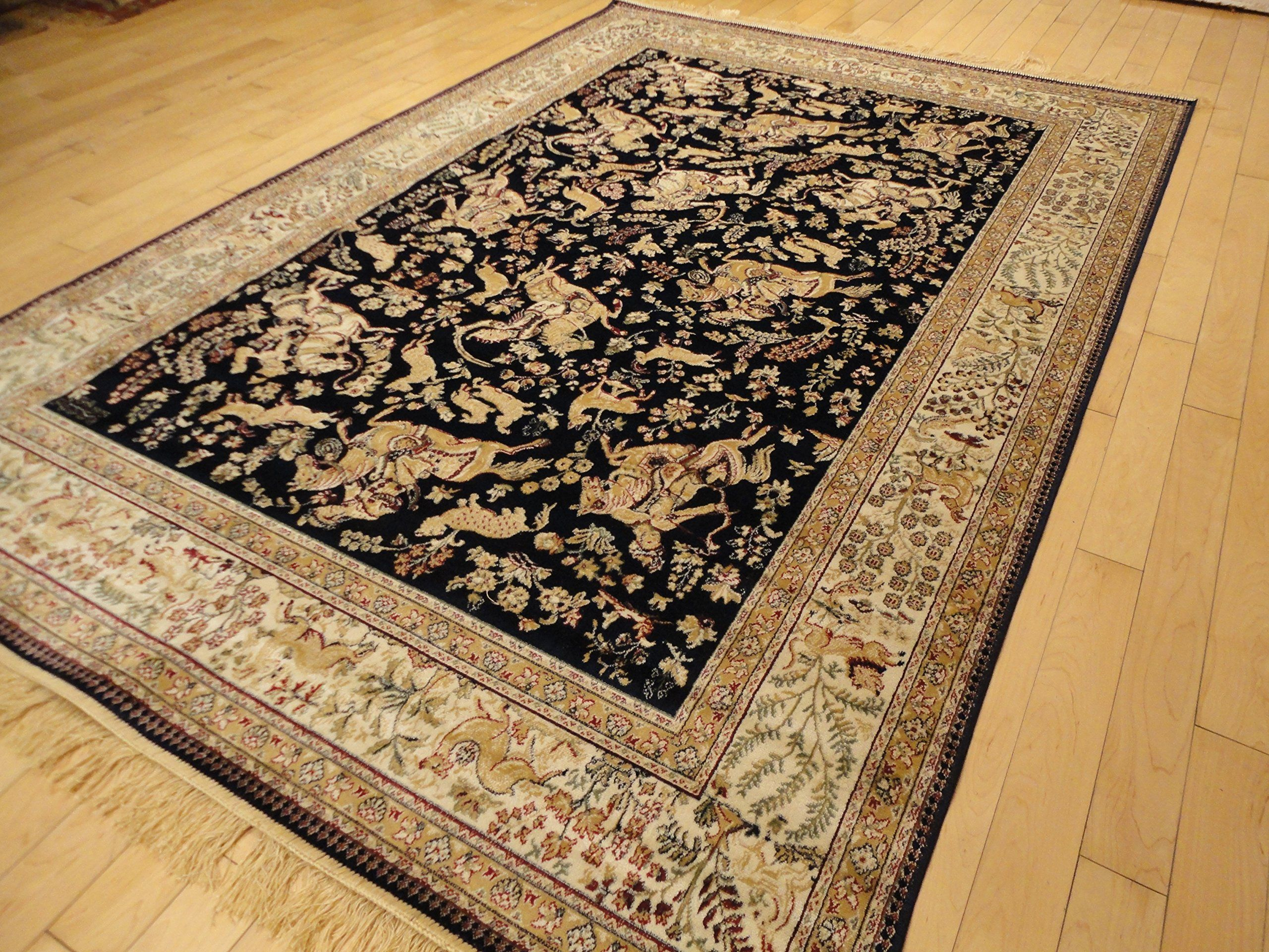 Silk Persian Traditional Rug 8x12 Area Rugs Living Room Navy Dining
