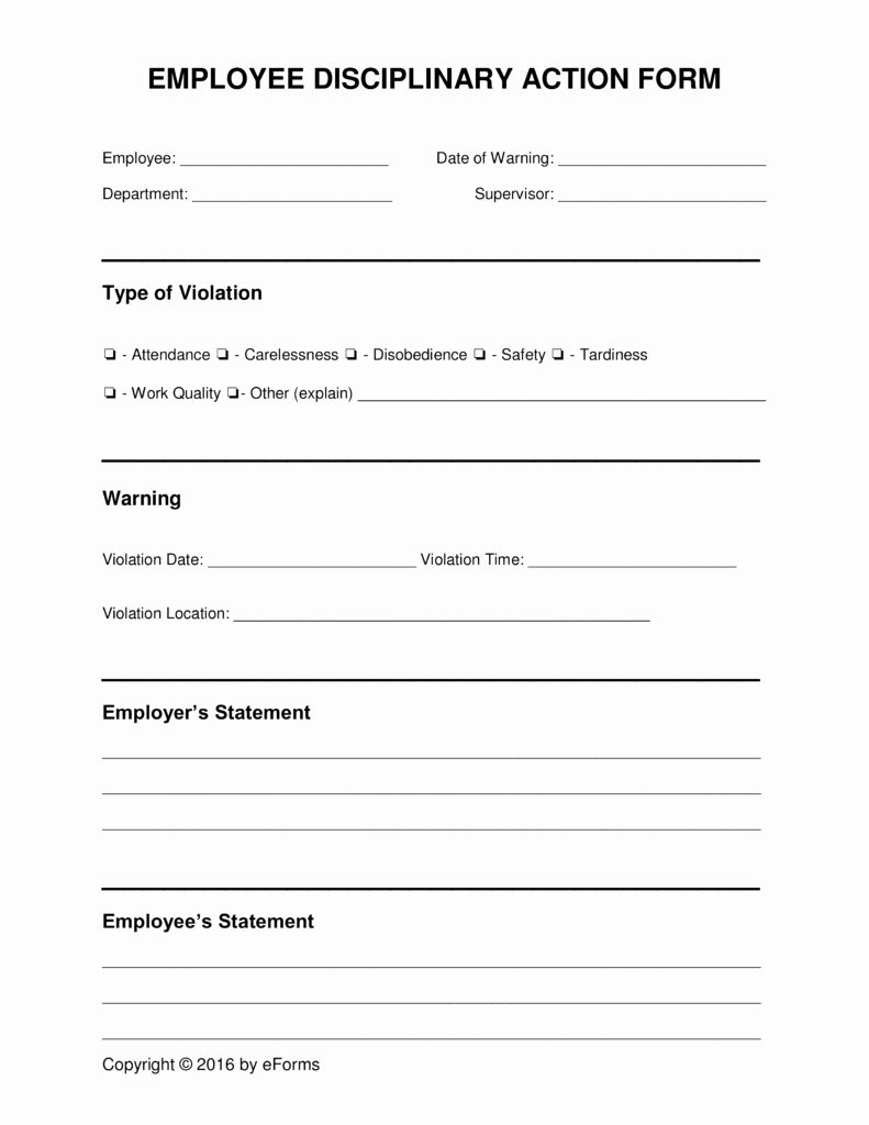 Employee Disciplinary Form Template Free New Employee Disciplinary Forms Employee Handbook Template Biography Template Job Application Form