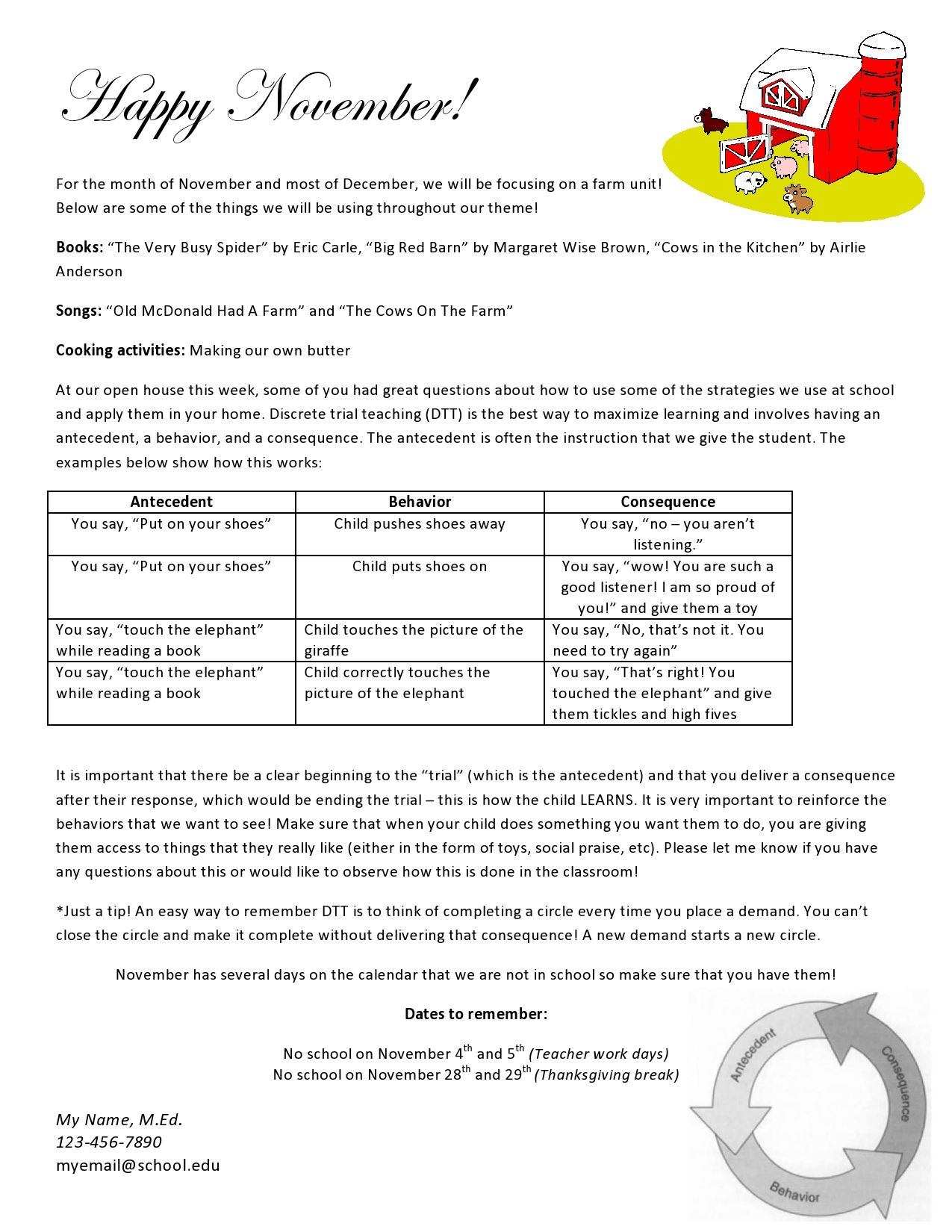 teach early autism free download for parent newsletter includes