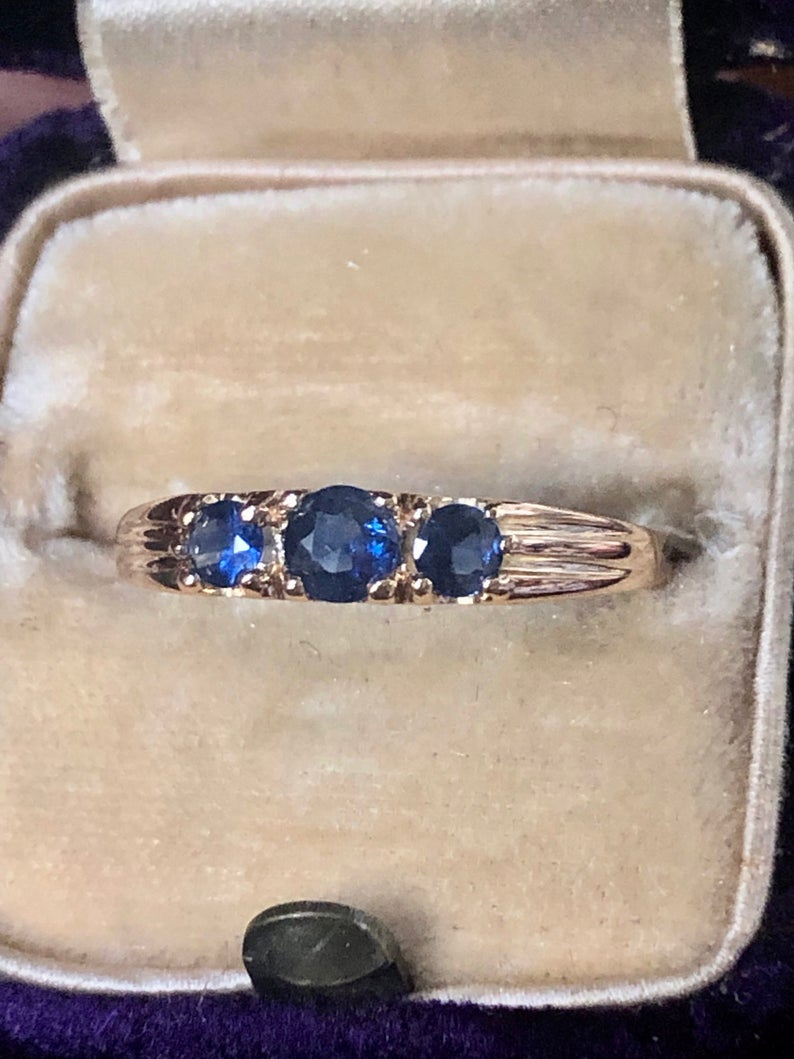 Vintage Sapphire Ring Band Gold Estate Blue Sapphire Wedding Engagement Anniversary Eternity Band Ring Vintage Sapphire Ring Vintage Sapphire Sapphire Rings Band