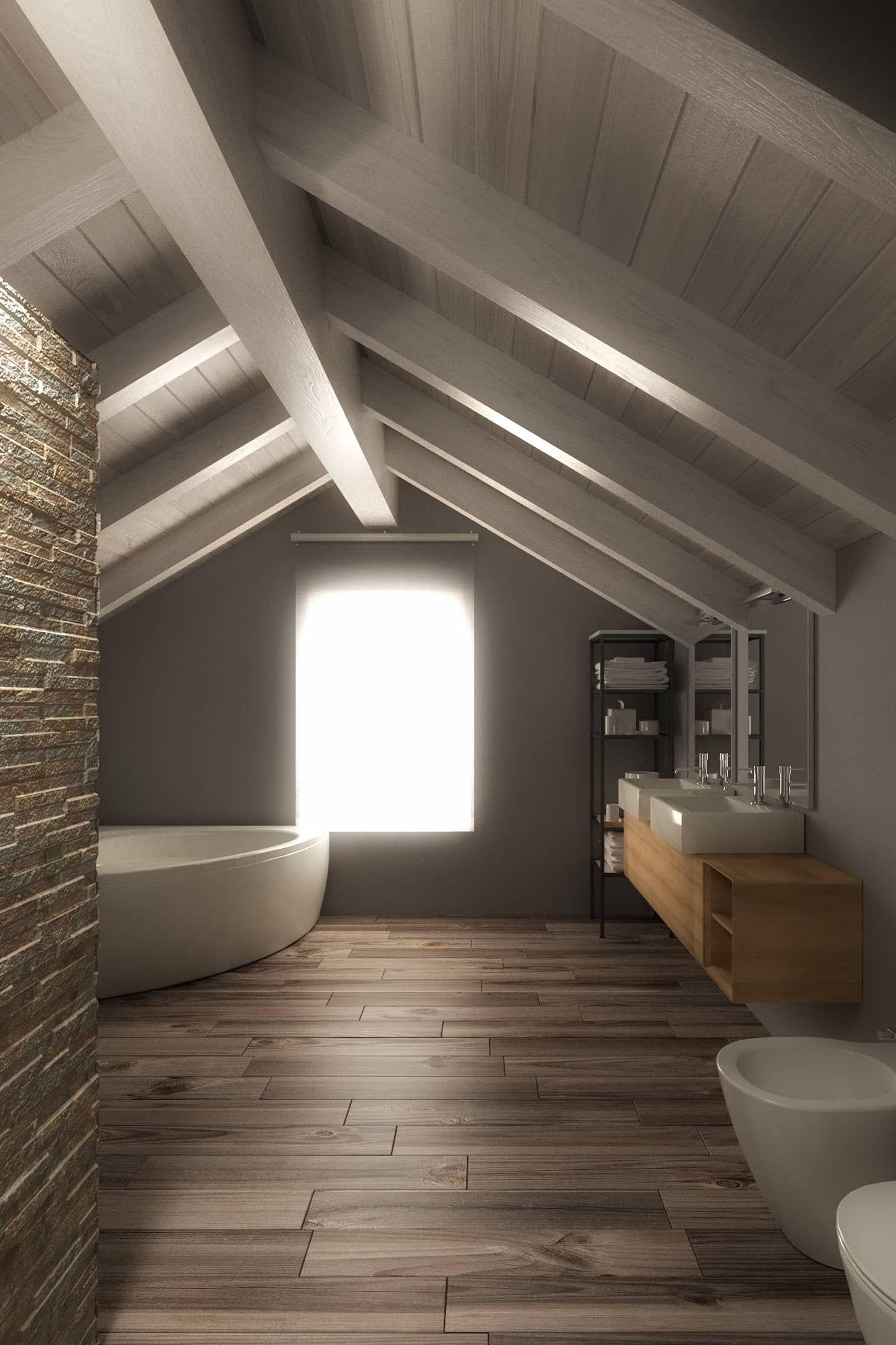 Bagno nel sottotetto bagno in stile di 3d arch nel 2019 for Arredamento per sottotetto