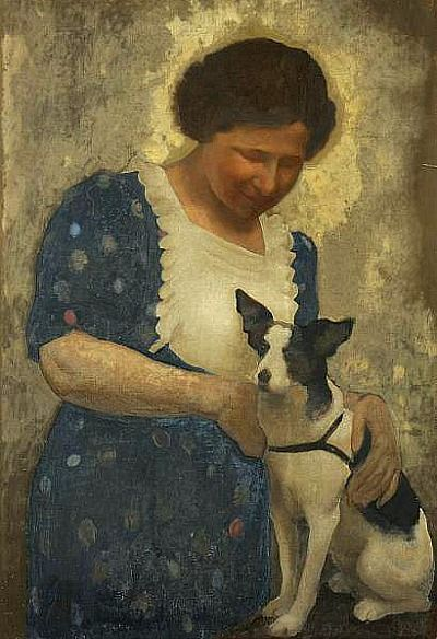 ⍕ Paintings of People & Pets ⍕ Unknown Artist | Woman with Her Dog, 20th century