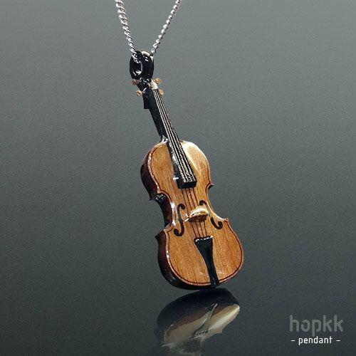 1 30 Wood Violin Pendant Violin Necklace By Hopkk