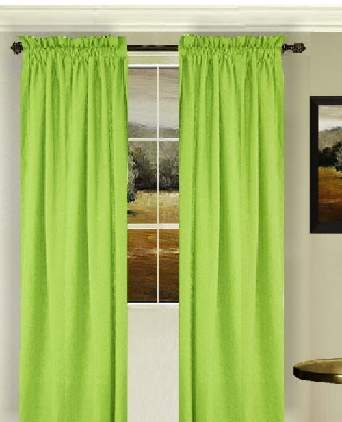 solid lime green colored window long curtain available in many lengths and 3 rod