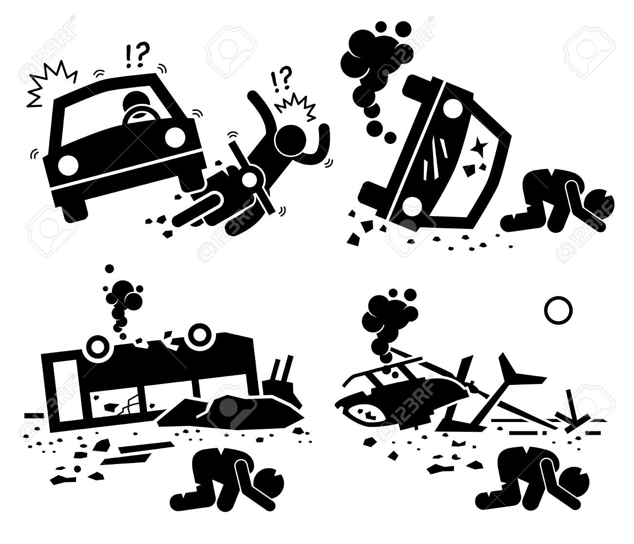 Disaster Accident Tragedy Of Car Motorcycle Collision, Bus