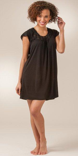 Oscar De La Renta Flutter Sleeve Dream Poly Rayon Knit Sleepshirt -  Midnight Florette