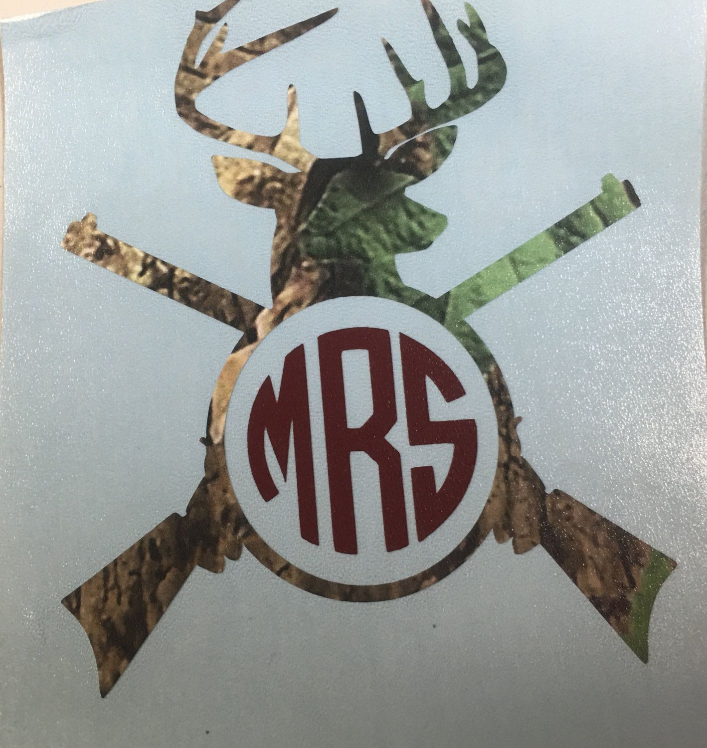camo deer head and rifle guns personalized decal yeti tumbler with monogram or initials by