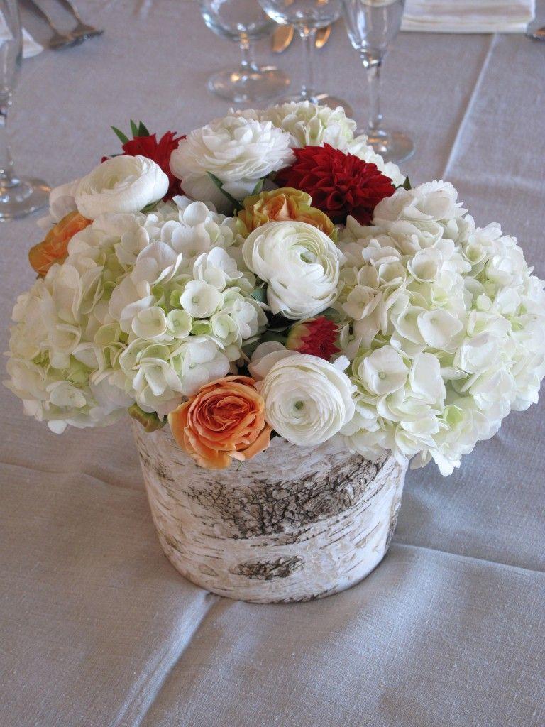 Peach White And Red Wedding Flowers Birch Centerpiece Of Hydrangea