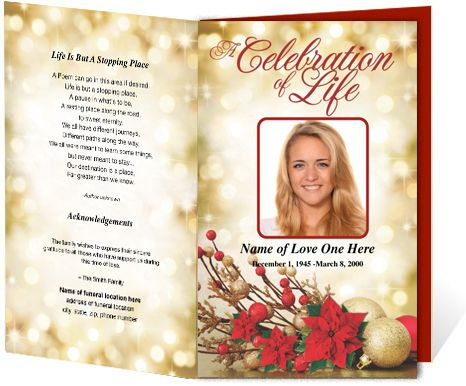 Holiday themed funeral programs Poinsetta Funeral Program – Funeral Program Background