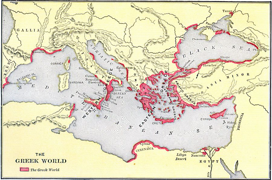 Greece World Map map of ancient greek world | Macedonian & Greco Roman | Map