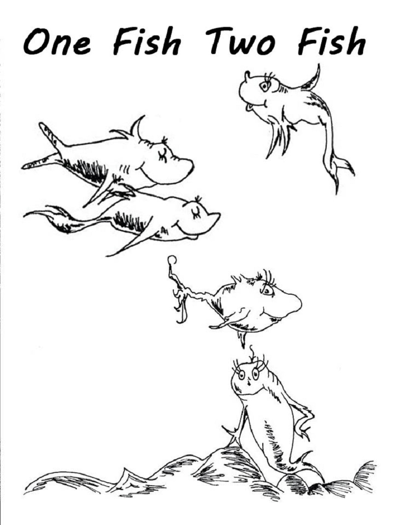 One Fish Two Fish Coloring Page Rhyming Fish Coloring Page Dr Seuss Coloring Pages Coloring Pages