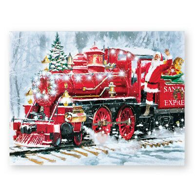Details About Santas Train Musical Lighted Canvas Wall Art In 2020 Christmas Scenes Christmas Train Dollar Store Christmas