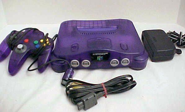 purple N64 | nintendo 64 rare funtastic colored system in original worn box system ...