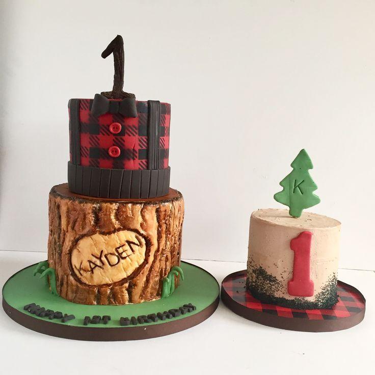 Lumberjack cake & matching smash cake Lumberjack