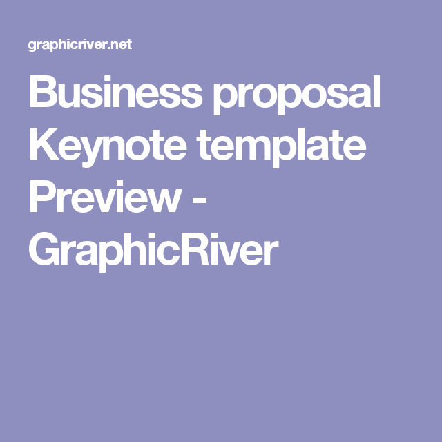 Business Proposal Keynote Template Preview  Graphicriver  Event