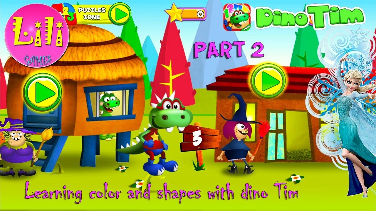 Learning Colors and Shapes with Dino Tim! Amazing game for kids and ...