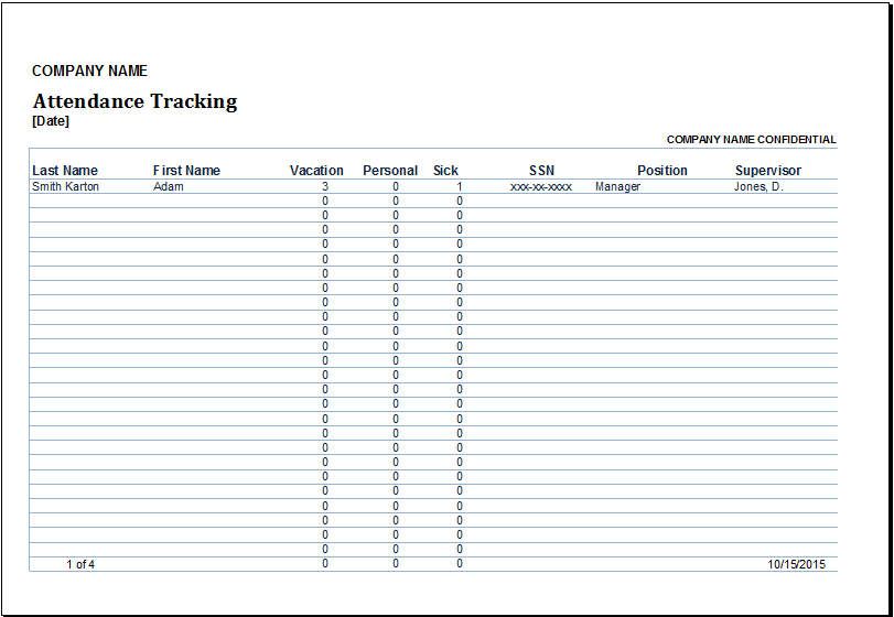 Employee Attendance Tracker At WwwXltemplatesOrg  Microsoft