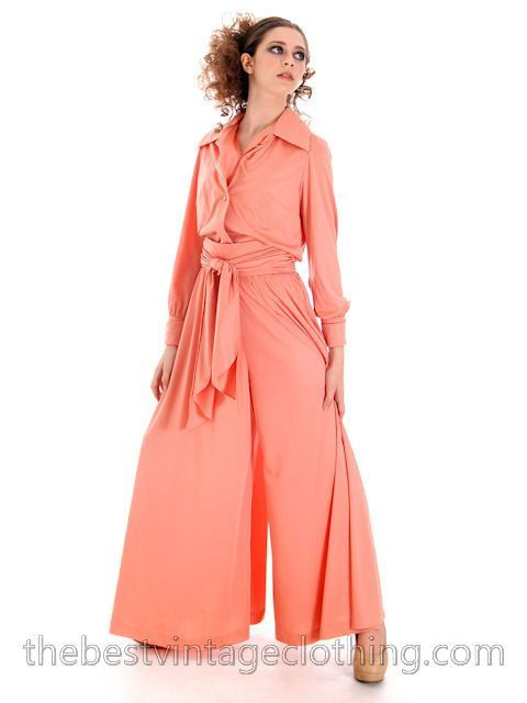 20ff4b2f53cf Vintage Jeremy Alan Phillips Palazzo Pants Outfit Peach Polyester Knit 1970s  Small- Med
