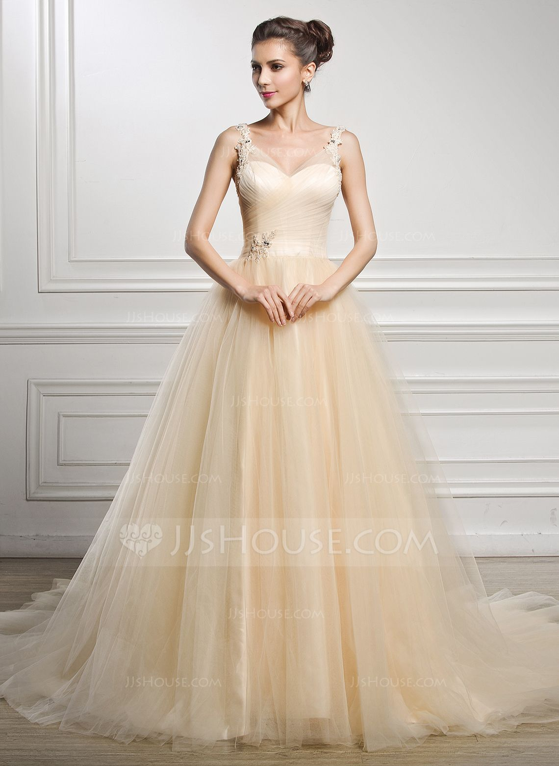 Cathedral wedding dress  BallGown Vneck Cathedral Train Tulle Wedding Dress With Ruffle
