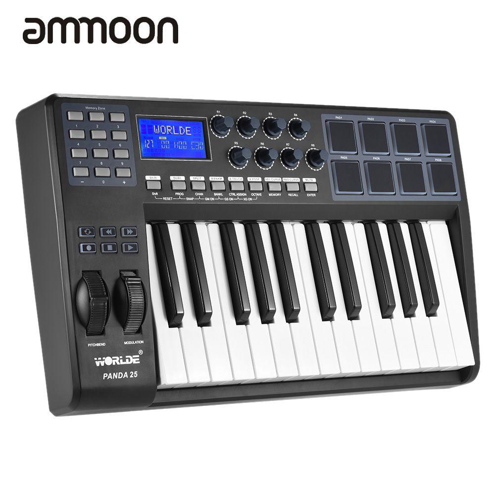 25-Key Ultra-portable USB MIDI Tastatur 8 Drum Pads Controller mit ...