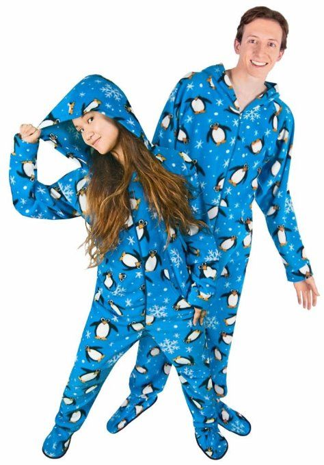 607c274328 Couples Pajamas  Penguin Footed  Pajamas