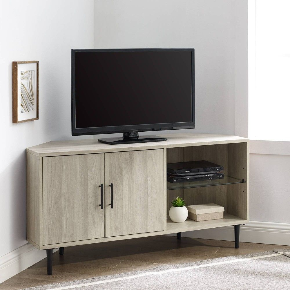 Contemporary Corner Tv Stand For Tvs Up To 55 Birch Saracina Home In 2021 Saracina Home Corner Tv Stand Corner Tv Console