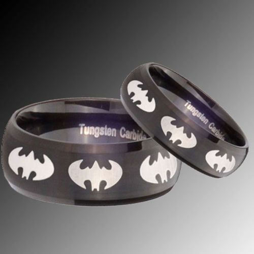 another set of his and wedding promise batman rings