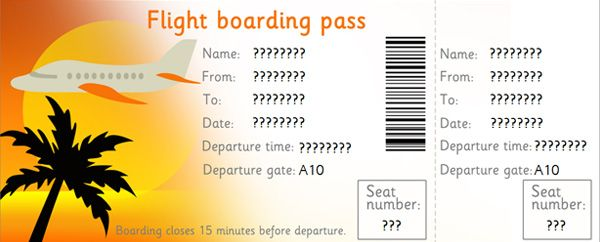 Editable Airline Tickets I made this into an El Al ticket for – Plane Ticket Template