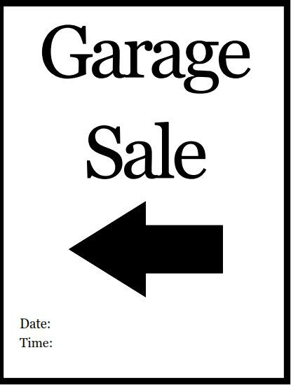 Printable PDF Garage Sale Sign (Left Arrow) Printable Home Signs