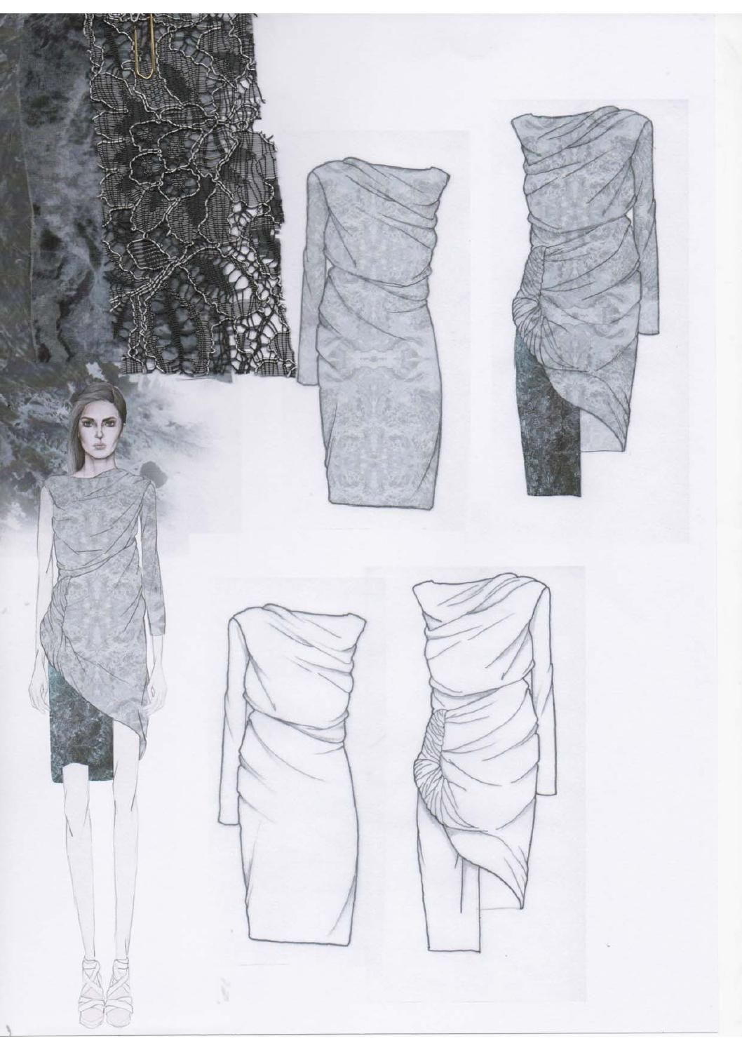 fashion sketchbook layout draped dress design