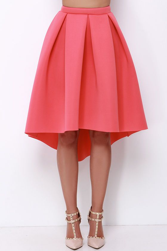 High Seas, Low Tide Coral High-Low Padded Midi Skirt | Coral