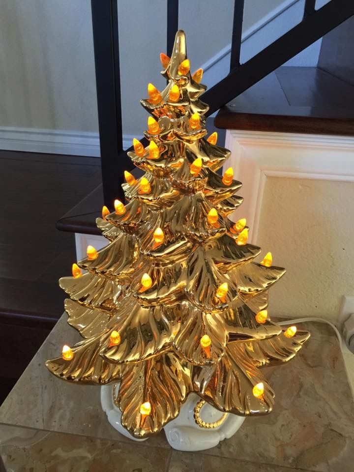 Vintage Gold Leaf Ceramic Christmas Tree The Thrift Store