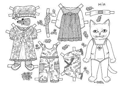 Karen`s Paper Dolls: Mia 1-3 Paper Doll to Colour. Mia 1-3 påklædningsdukke til at farvelægge.