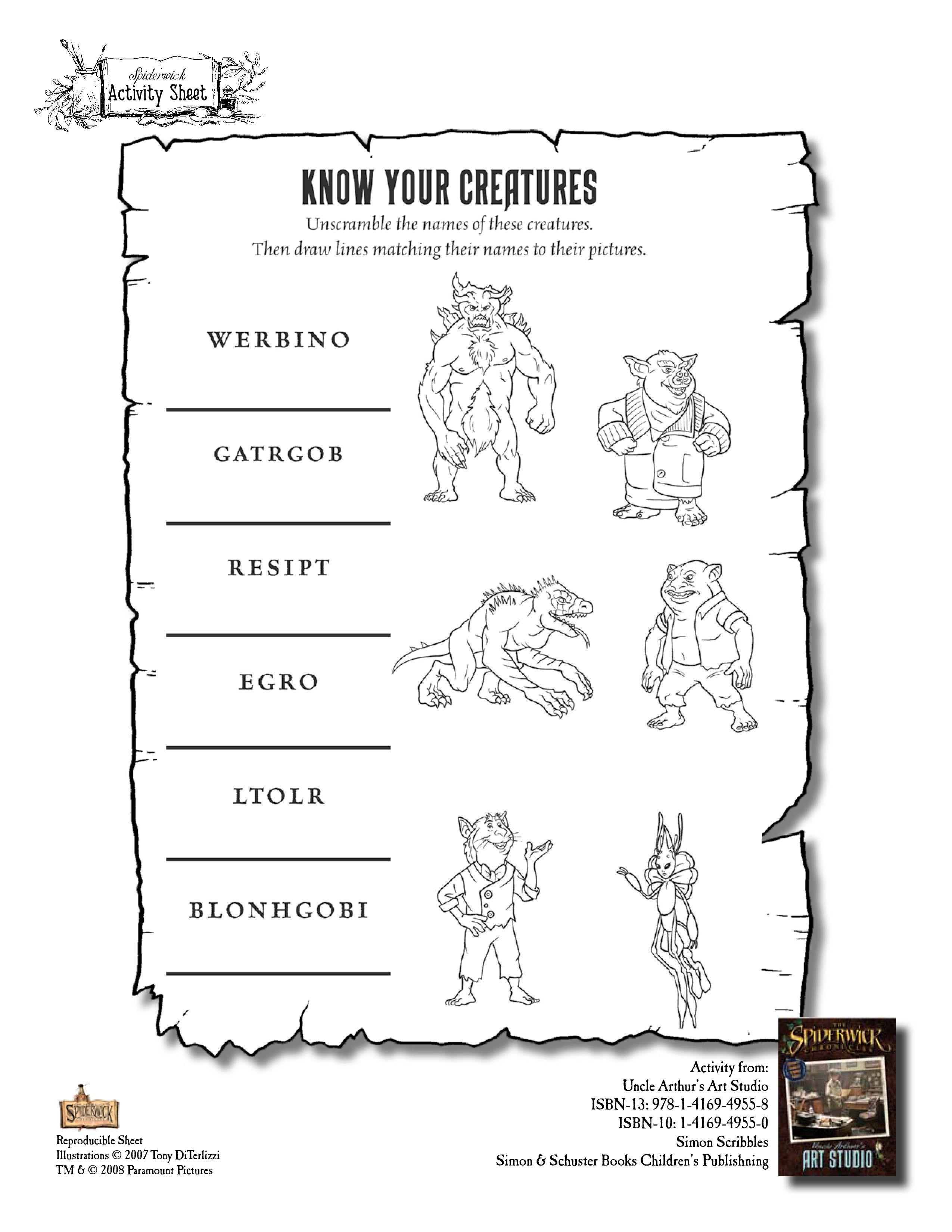 Spiderwick Chronicles Worksheet