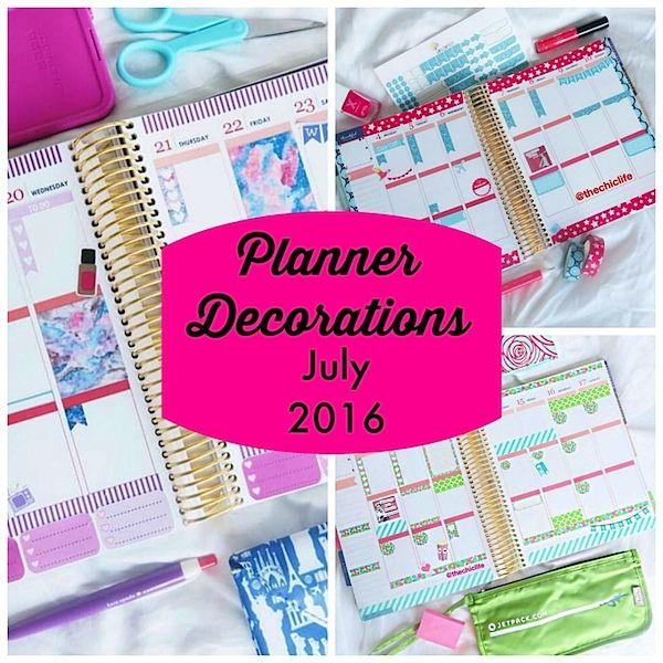Planner Decorations July 2016 (Erin Condren Vertical)