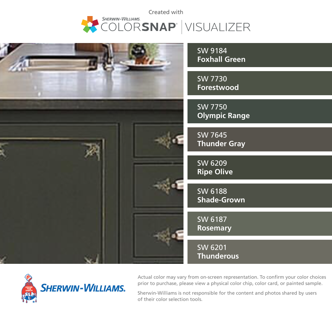 I found these colors with colorsnap visualizer for iphone by sherwin williams foxhall green sw 9184 forestwood sw 7730 olympic range sw 7750