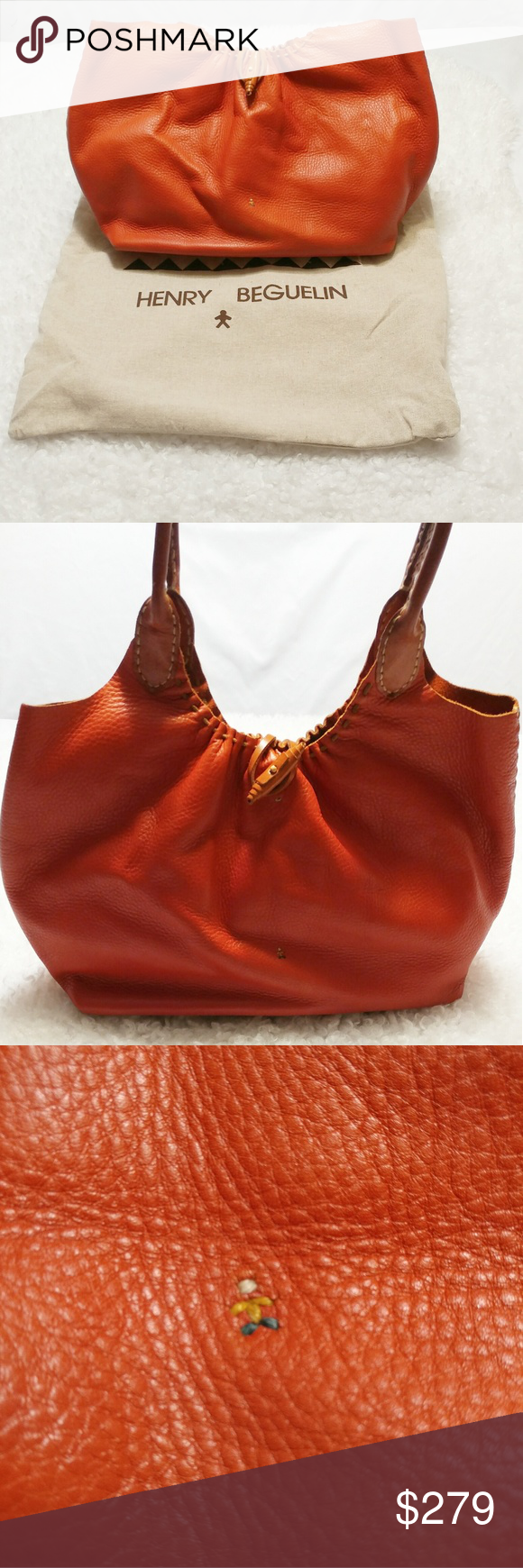 Henry Beguelin Cuir Orange/Cognac Leather Tote Bag Henry Beguelin Cuir Orange/Cognac Leather Tote Bag Orange/Cognac pebbled leather Henry Beguelin tote with wooden, leather wrapped hardware. Embroidered figurines throughout. Dual rounded shoulder straps. Tonal hide lining and toggle closure at top.   Handle Drop: 7.5