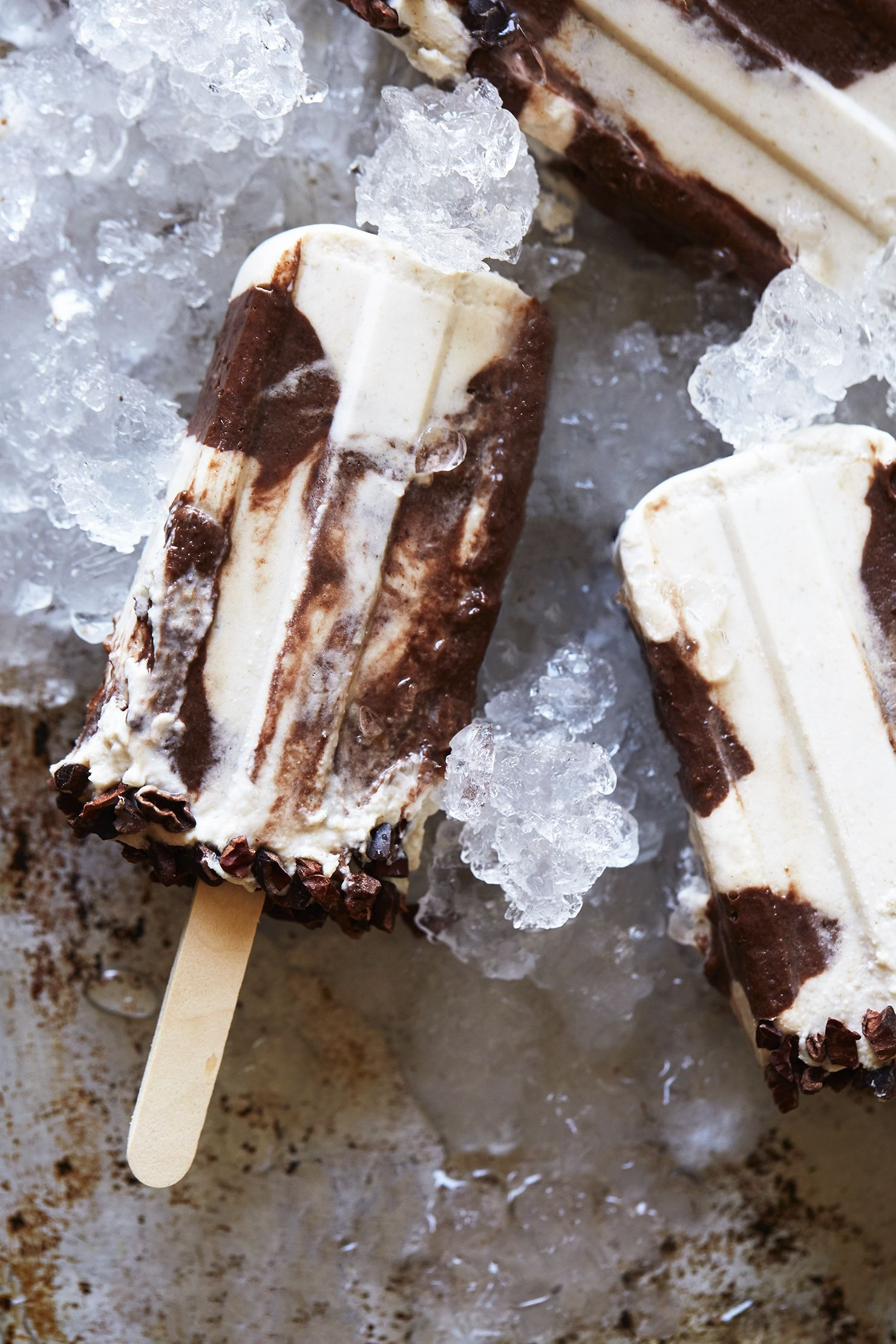Creamy tahini cacao popsicles glutenfree vegan with