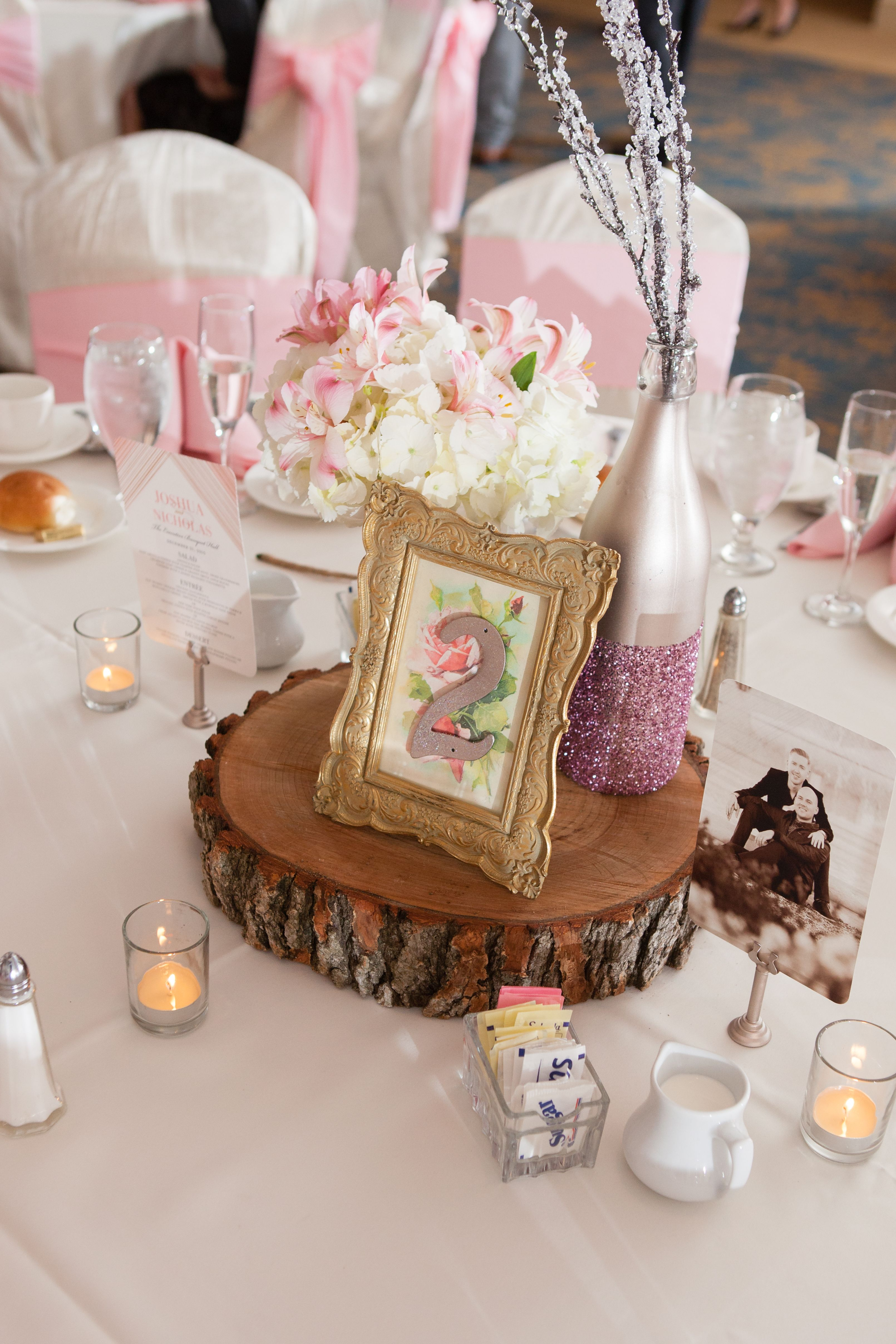 Table Numbers. Wedding, Pink and Gold. Wood Slab. DIY Centerpieces ...