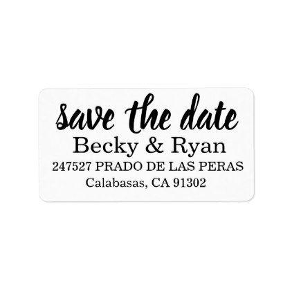 return address labels save the date modern script in 2018 script