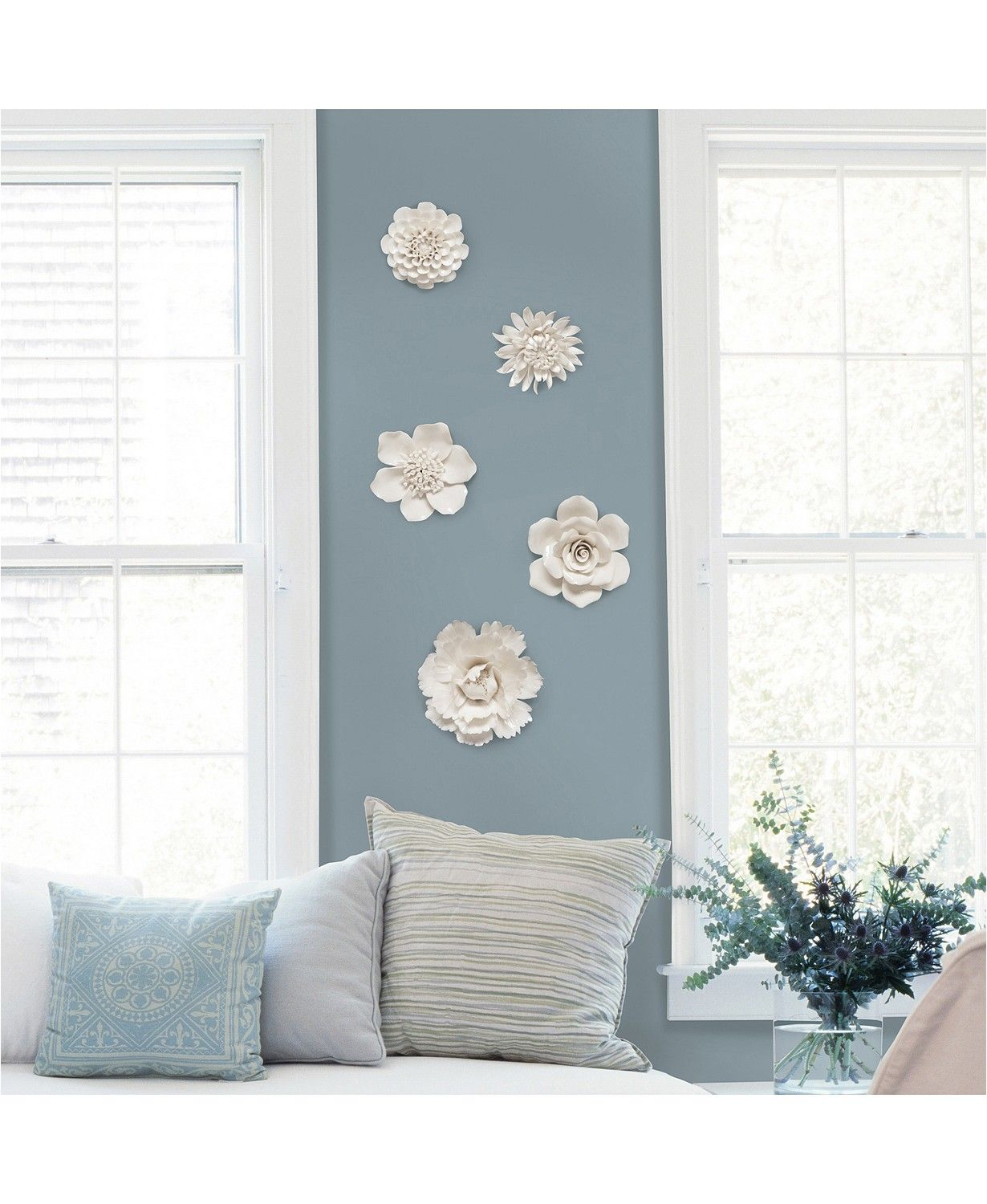 Brewster Home Fashions Klara Set Of 5 Cream Ceramic Floral Wall