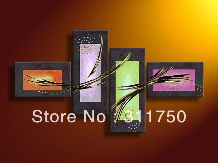 4 Piece Wall Art Modern Abstract Fantasy Space Oil Painting On Canvas No Framework Ideas Pictures Decor