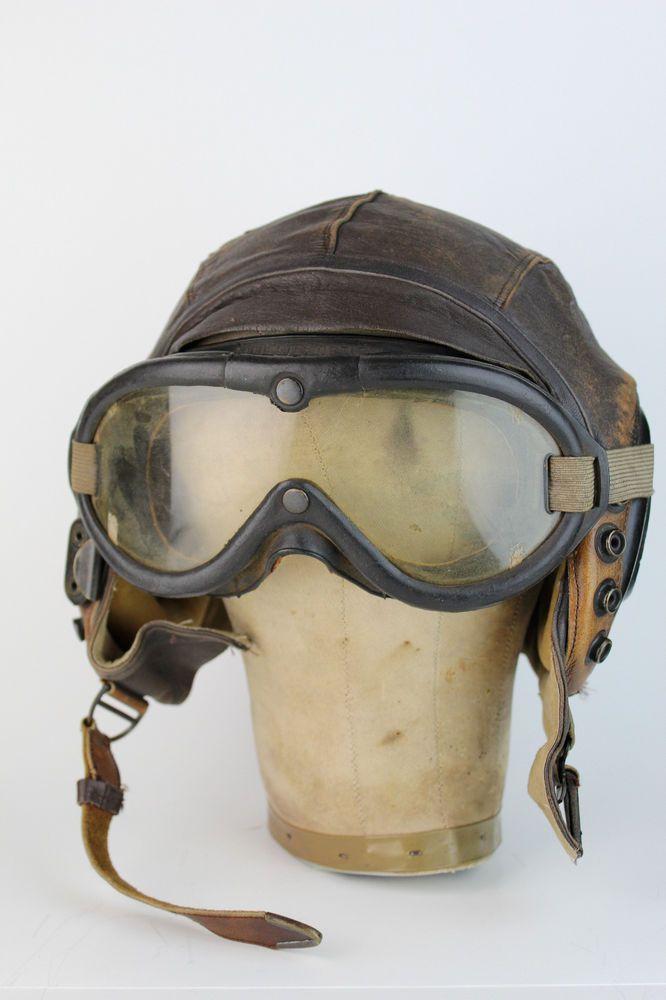 267c41d4092c Vintage Aviator U.S. WWII Leather Flight Helmet with Goggles ...