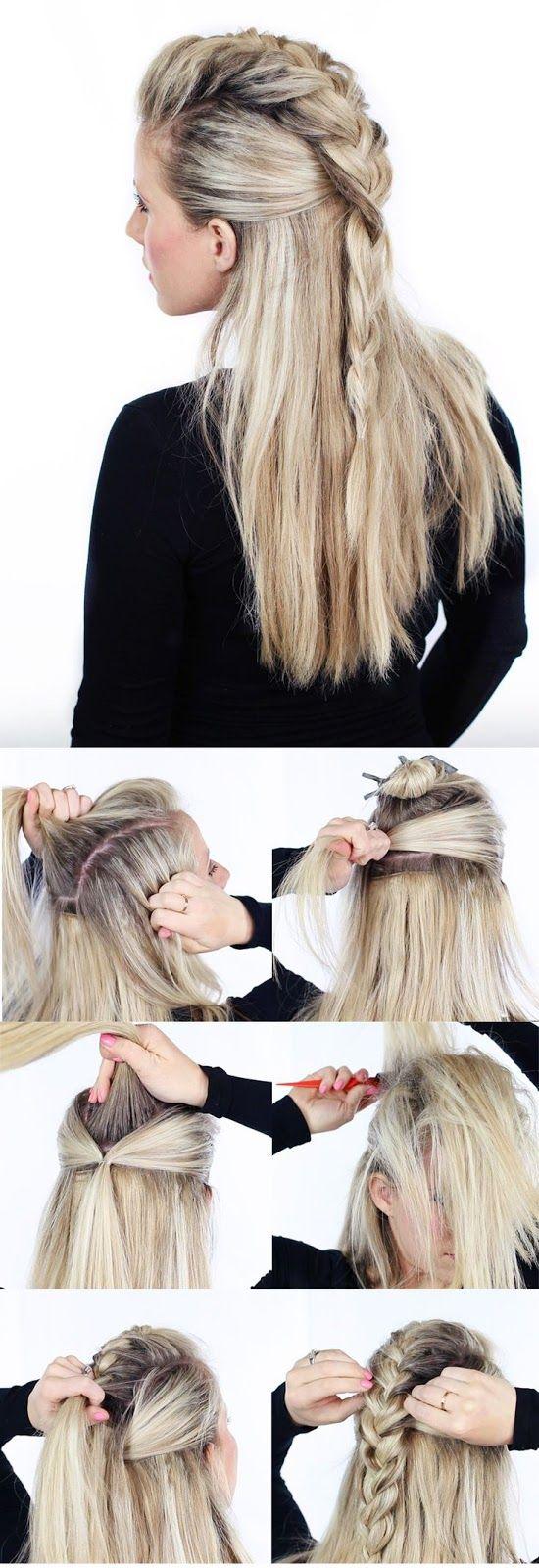 Long braided half updo hairstyle tutorial calgary edmonton
