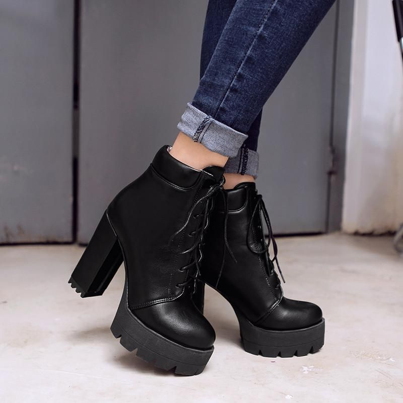 0eff9f09cc6 Chunky Block High Heels Lace Up Ankle Boots RI | Fashion | Lace up ...