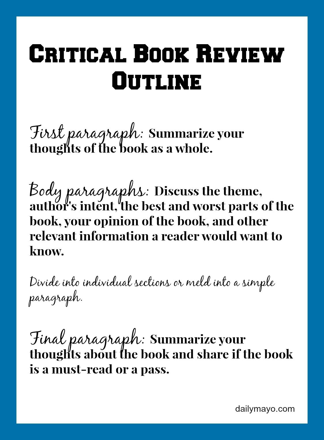 Critical Book Review Example and Tutorial  Daily Mayo  Writing a