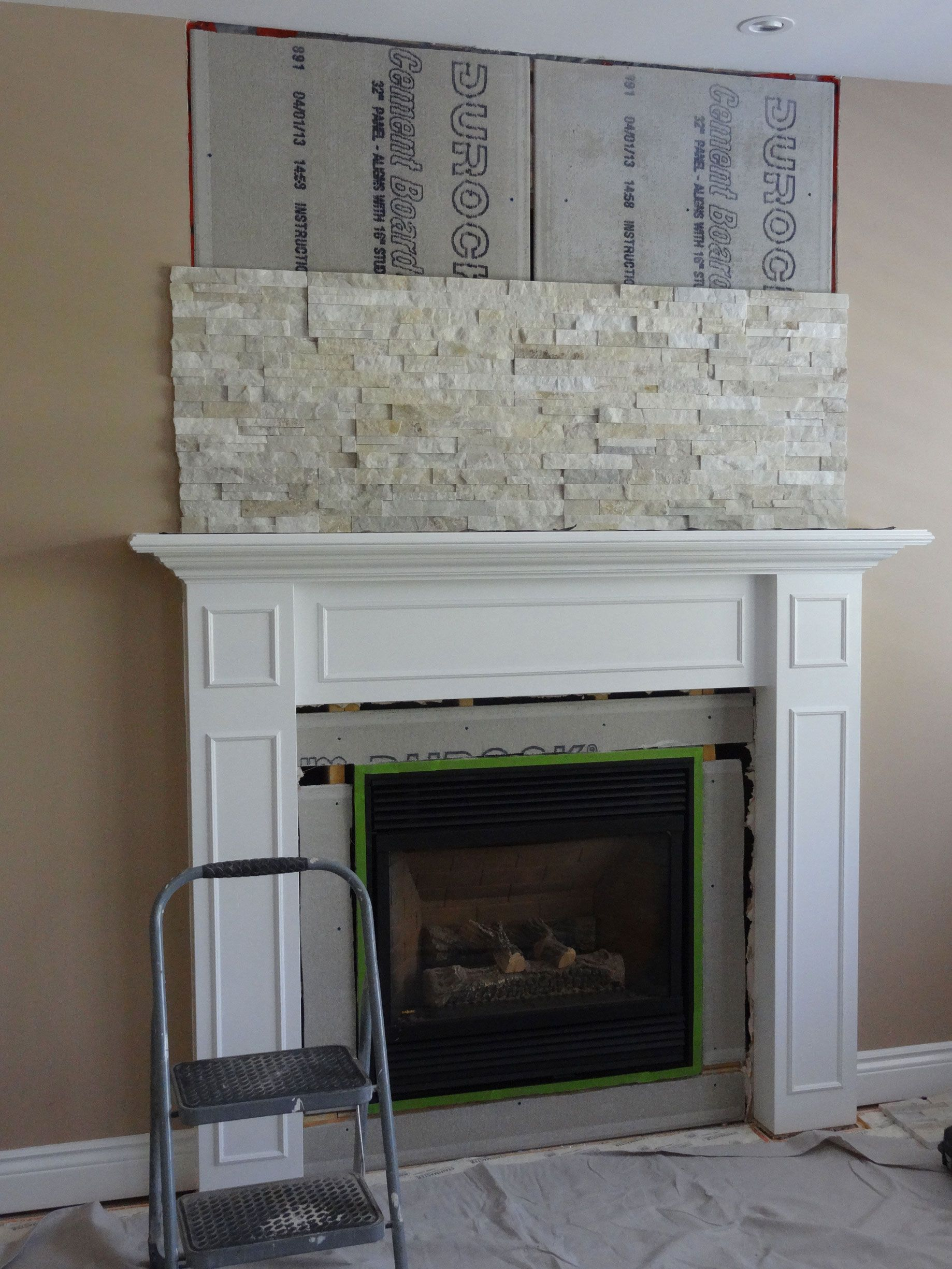 Building A Stacked Stone Fireplace | For the home | Pinterest ...