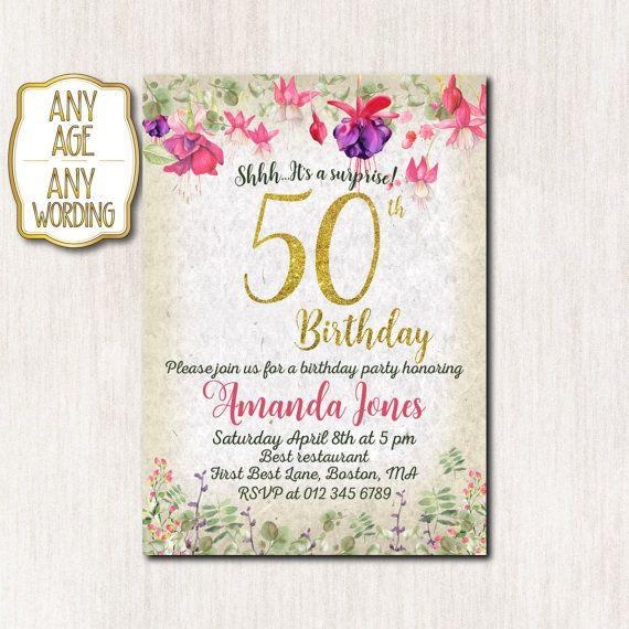 50th birthday invitation 30th 40th 50th 60th 80th by CoolStudio - tea party invitation